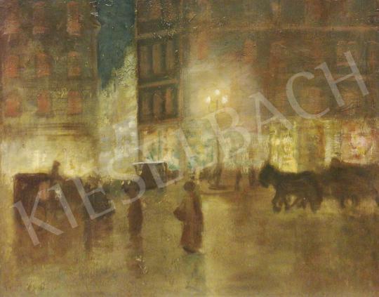 Eladó  Ismeretlen magyar festő, 1930 körül - Fények az esti Boulevardon festménye