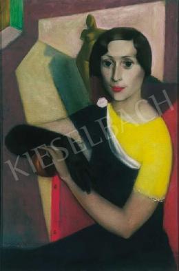 Medveczky Jenő - Fiatal hölgy fekete kesztyűben