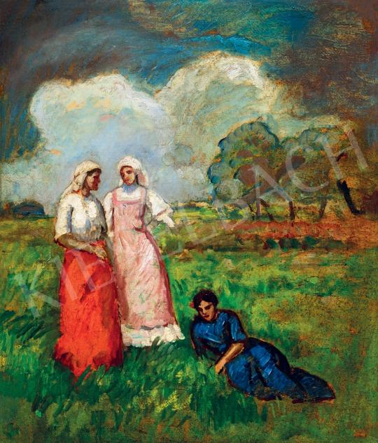 Iványi Grünwald Béla - Lányok a mezőn, 1910-es évek festménye
