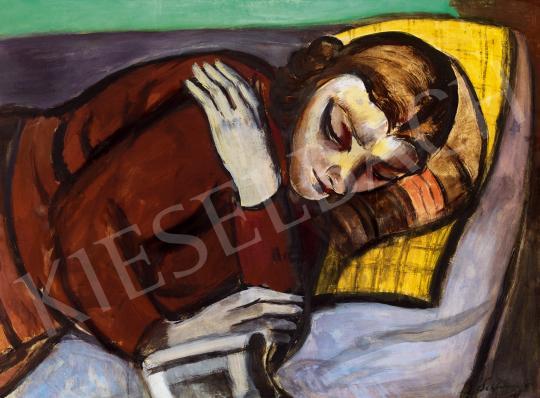 Eladó  Schönberger Armand - Pihenő fiatal lány (Szieszta) festménye