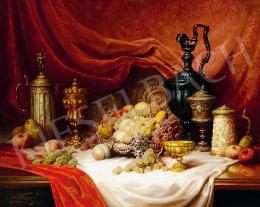 Friedlinger, Jenő - Still-Life with Fruits and Cups