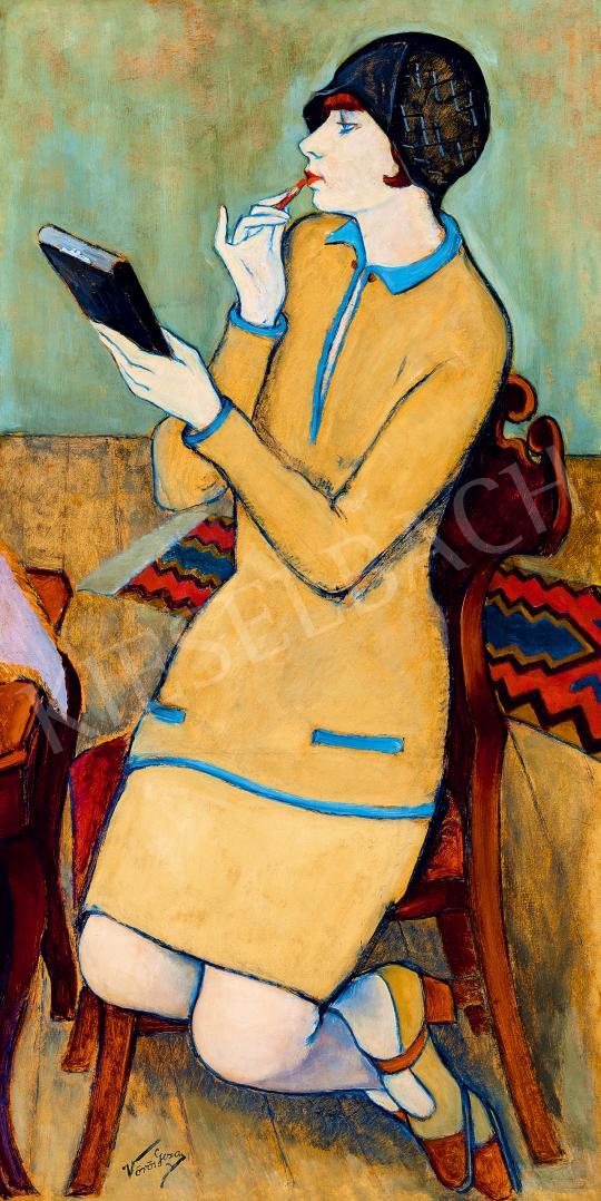 Eladó  Vörös Géza - Ajkát rúzsozó nő art deco ruhában (Szájfestés), 1930 körül festménye