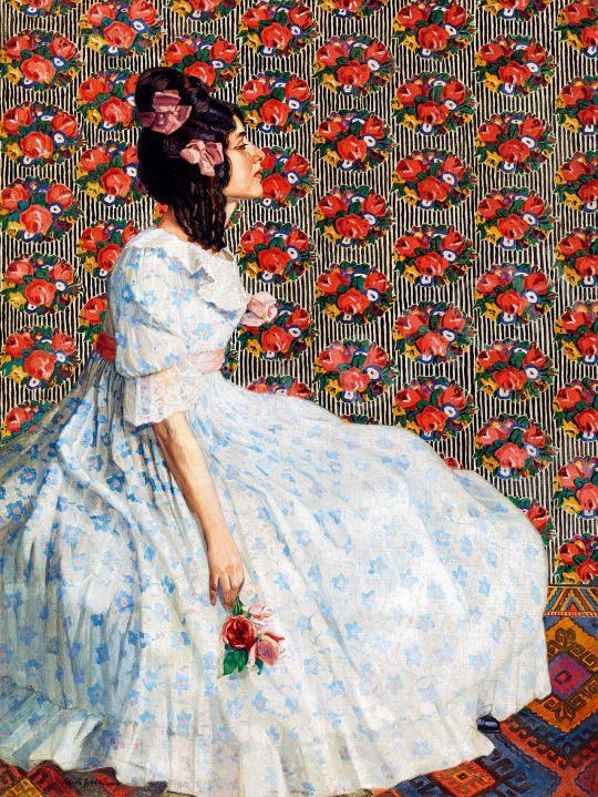Eladó Kövér Gyula - Fiatal lány rózsával festménye