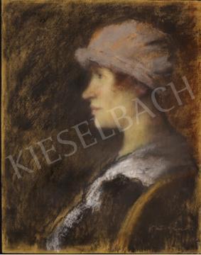Eladó Rippl-Rónai József - Női porté lila kalapban festménye