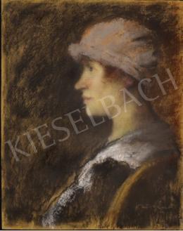 Rippl-Rónai József - Női porté lila kalapban