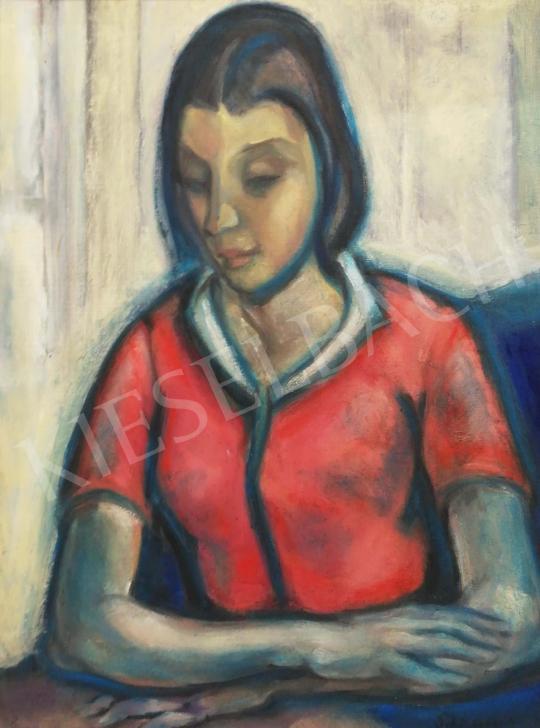 Schönberger Armand - Lány piros ruhában festménye