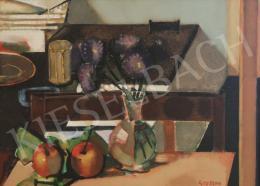 Gerzson Pál - Asztali csendélet almával és virággal