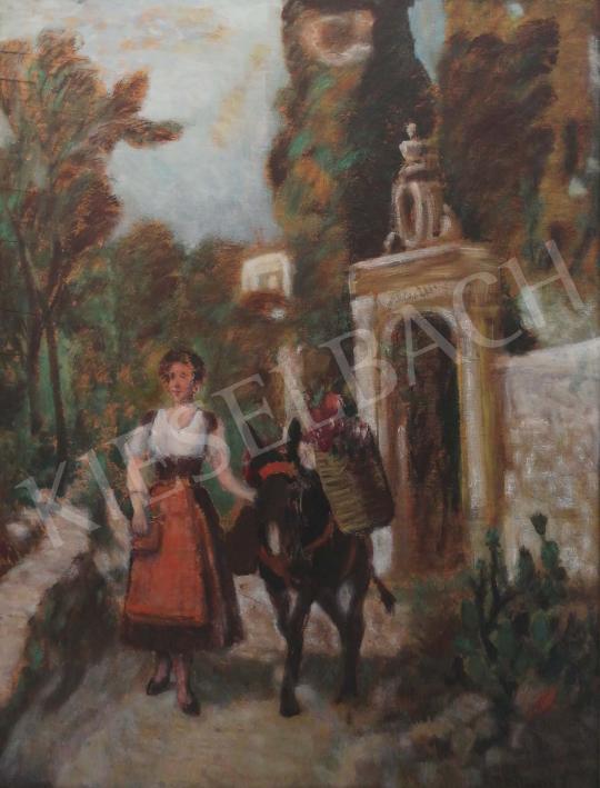 Eladó  Burchard Bélaváry István - Hölgy szamárral festménye