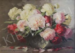 Henczné Deák, Adrienne - Flower Still Life with Peonies