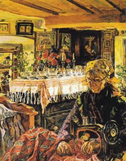 Perlmutter Izsák - Öreg hölgy varrás közben
