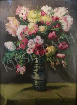 Záhonyi Géza - Virágcsendélet bazsarózsával és tulipánnal