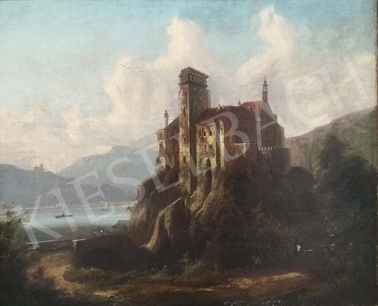 Eladó  Johann Wilhelm Jankowski - Rálátásos tájkép várral és tengerszemmel, 1865 festménye