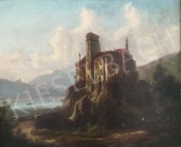 Johann Wilhelm Jankowski - Rálátásos tájkép várral és tengerszemmel, 1865