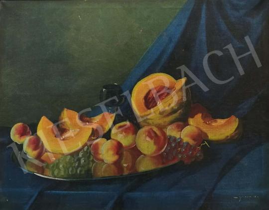 Eladó Murin Vilmos - Asztali csendélet dinnyével és barackkal festménye
