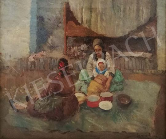 Eladó  Czencz János - Fiatal anya gyermekével festménye