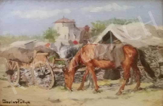 Eladó  Pállya Carolus - Lovasszekér festménye