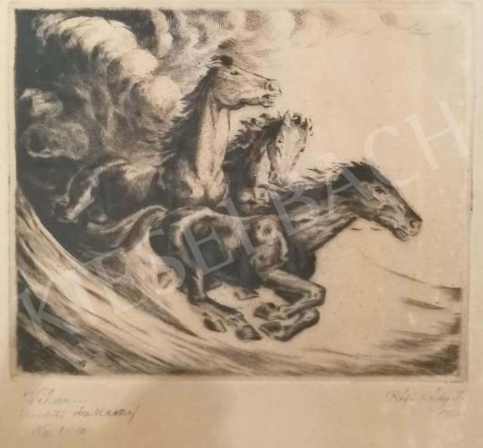 Réfy-Kádi János - Lovasjelenet viharban festménye