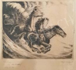 Réfy-Kádi János - Lovasjelenet viharban