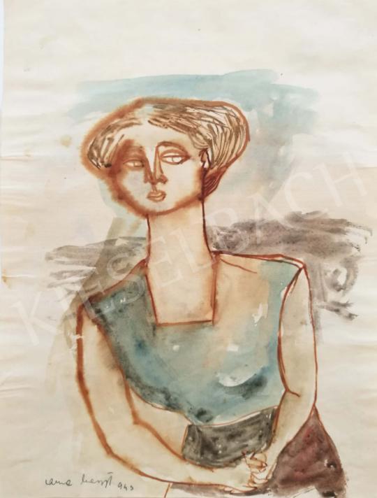 Eladó  Anna Margit - Lány kék blúzban, 1943 festménye