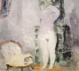 Szőnyi, István - Woman undressing in front of a stove
