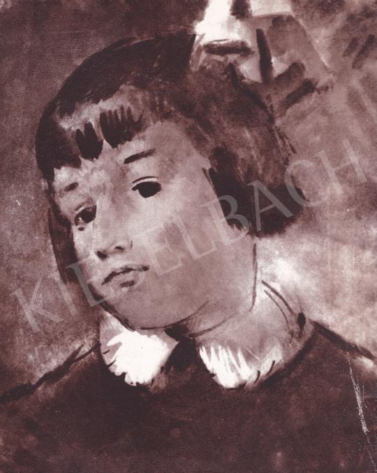 Csebi Pogány István - Luca kék szalaggal festménye
