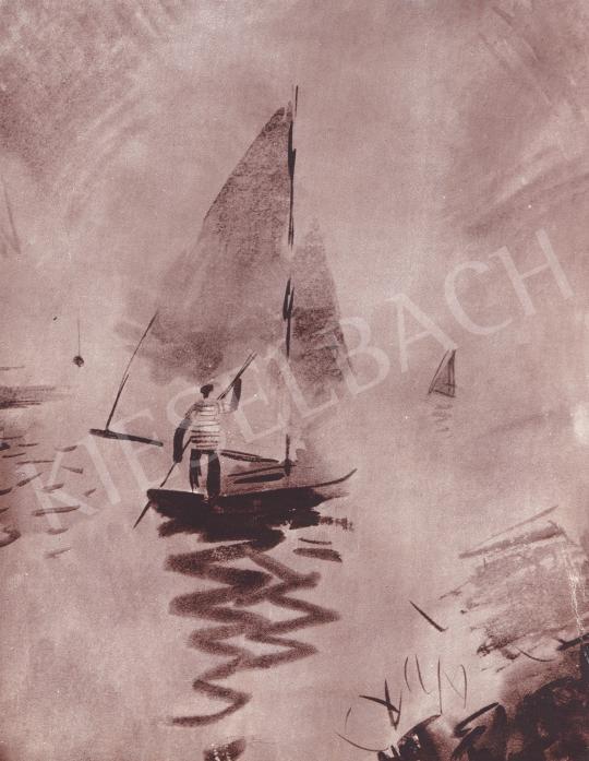 Csebi Pogány István - Vitorlás a szélcsendben festménye