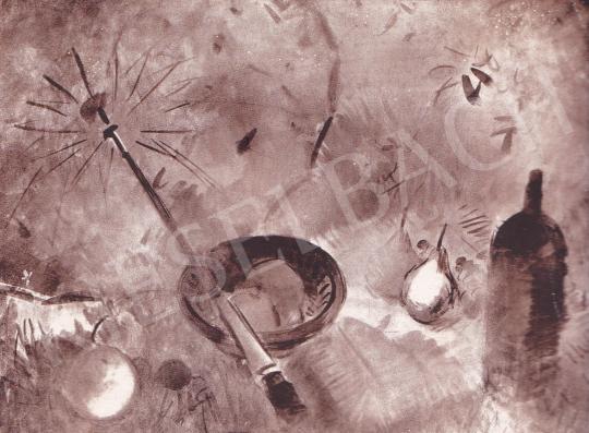 Csebi Pogány István - Uzsonna kék napernyővel festménye