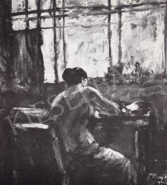 P. Bak János - Író Nő festménye