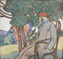 Ismeretlen festő - Karosszékben pipázó férfi