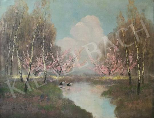 Eladó Kézdi-Kovács Elemér - Patakpart virágzó gyümölcsfákkal festménye