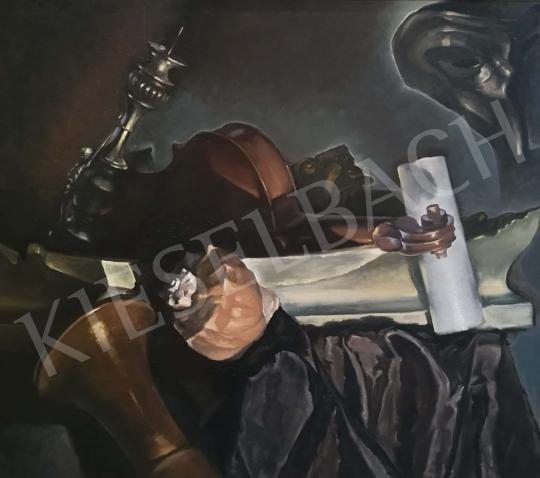 Eladó Cserna Tamás - Asztali csendélet hegedűvel és kagylóval festménye