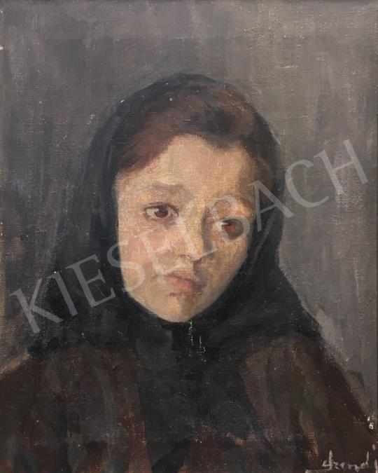 Eladó Szendy Arisztid - Fejkendős lány (Merengő tekintet) festménye