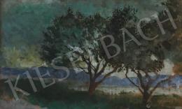 Szőnyi István - Alkonyati tájkép fákkal