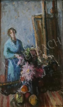 Gráber Margit - Önarckép festőállvánnyal és virágokkal