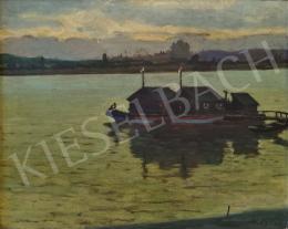 Kató Kálmán - Dunai látkép alkonyati fényekben vízimalommal