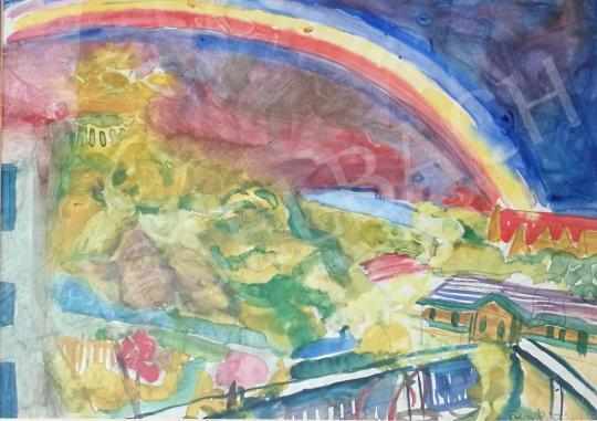 Eladó  Frank Frigyes - Szivárvány a város felett festménye