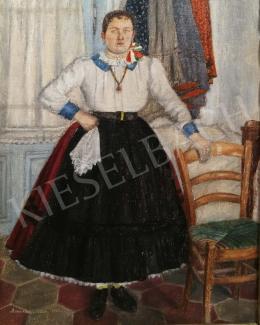 Benedek Péter - Lány népviseletben, 1930