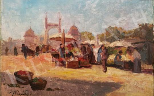 Kárpáthy Jenő - Piac a régi Erzsébet-híd előtt festménye