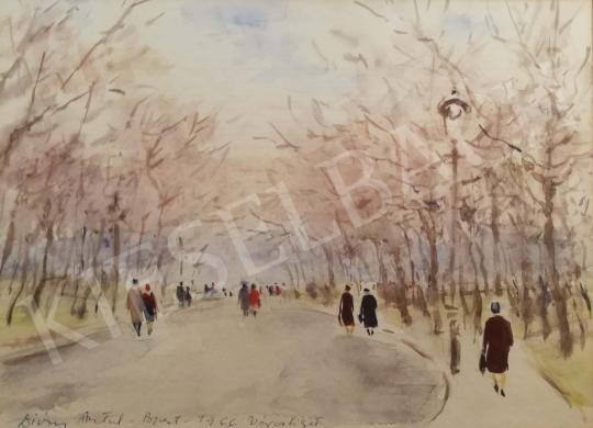 Diósy, Antal (Dióssy Antal) - Walking by the City Hall, 1966 painting
