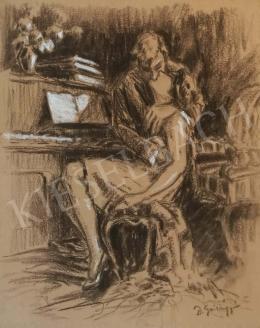 Ismeretlen művész Szilágyi D. jelzéssel - A zongora mellett (Csók, szerelem, érintés)
