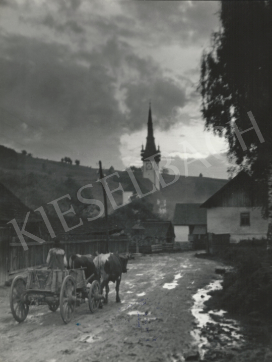 For sale  Szőllősy, Kálmán - Transylvanian Church with a Carriage, 1939 's painting