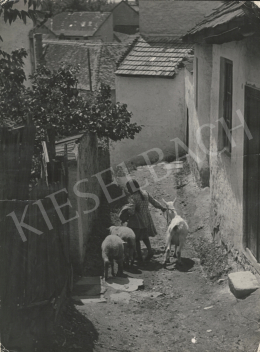 Szőllősy, Kálmán - Old Village with Young Goats, c. 1950