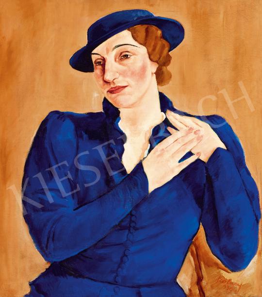 Eladó Szolnay Sándor - Kalapos nő (Kékben), 1936 festménye