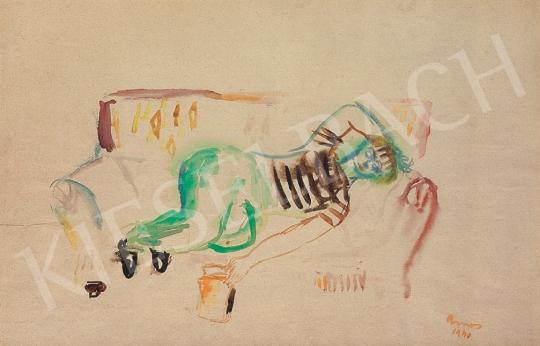 Eladó  Ámos Imre - Manci könyvvel festménye