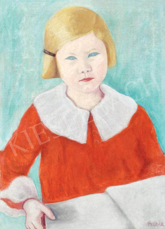 Eladó  Polgár Boris - Kislány piros blúzban festménye