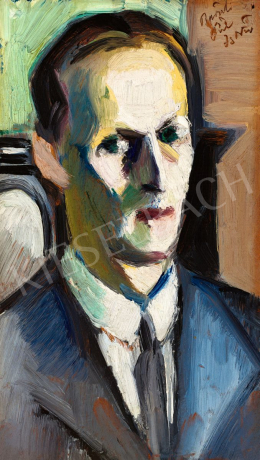 Pál, István - Self-Portrait with a Green Blackground, 1910s