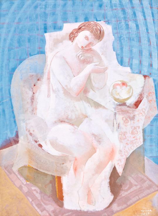 Kádár Béla - Art deco akt kék szobában festménye