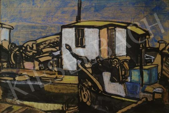 Eladó Gruber Béla - Óbudai hajógyári uszályok festménye