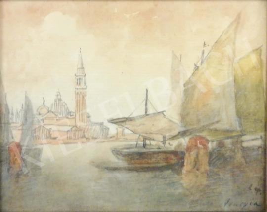 Eladó  Háry Gyula - Velencei látkép hajóval festménye
