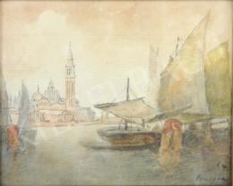 Háry Gyula - Velencei látkép hajóval